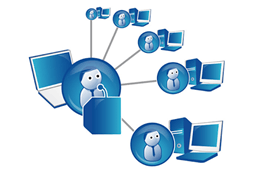 illustration of computer network with sharing