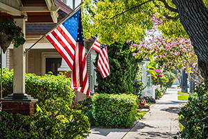Houses with American Flags