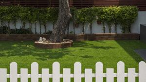 Backyard with artificial turf